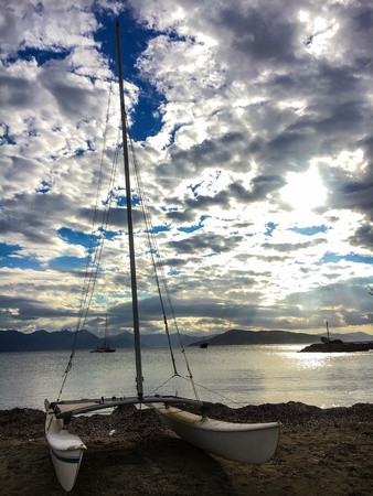 Sail boat by the sea
