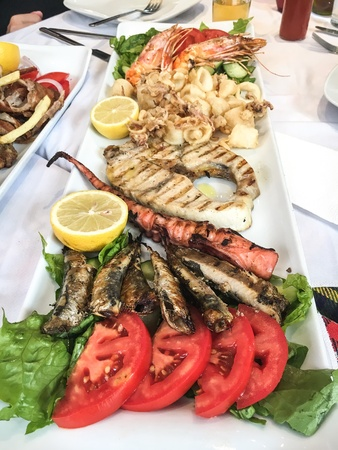 Seafood platter in Greece Stock Photo
