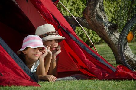 english ethnicity: children in tent Stock Photo