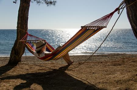 english ethnicity: hammock relaxation Stock Photo