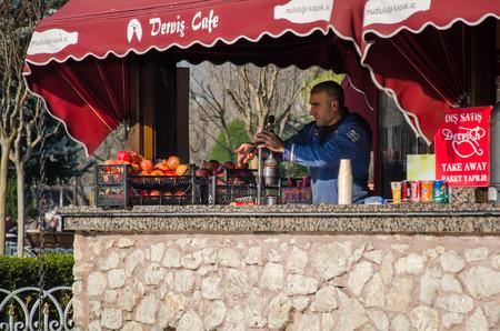 Seller of natural orange juice. Sultanahmet Square, Istanbul, Turkey