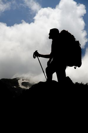 english ethnicity: hiker silhouette Stock Photo