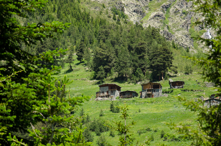 extreme angle: kacke chalets at the mountains, Turkey