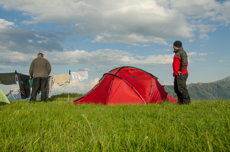 english ethnicity: Clothes line at campsite Stock Photo