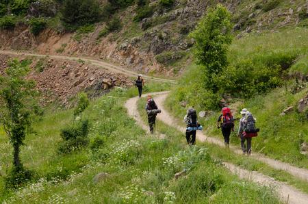 hikers: Backpacker hikers Stock Photo