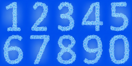 Bubble s numbers on a blue background Vector
