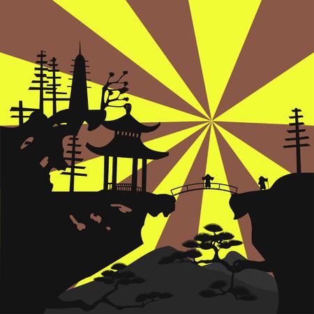 Asian landscape Vector