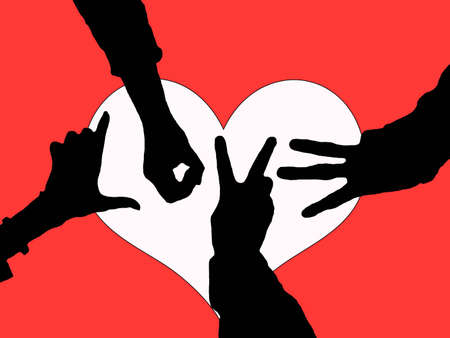 Love created from posed hands in silhouette over a heart