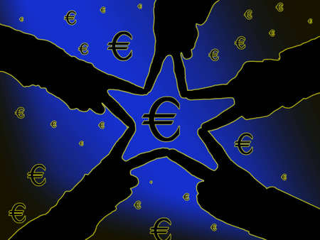 Hands silhouette creating a star, framing a Euro symbol Imagens