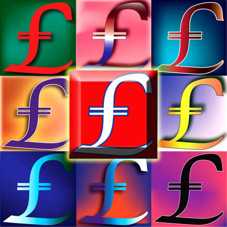 Pound Sterling symbol arranged in a POP art arrangement with oversized red button center