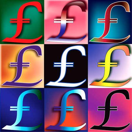 Pound Sterling symbol arranged in a POP art arrangement