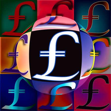 Pound Sterling symbol arranged in a POP art arrangement with oversized sphere center