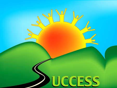 成功に向かって夕日にローリング ・ ヒルズとする道路の風景です。道路単語成功のテキスト版の S の文字に置き換えられます。太陽光線は、人々