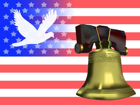 American flag with dove silhouette over blue field balanced by the liberty bell over the red & white stripes. photo