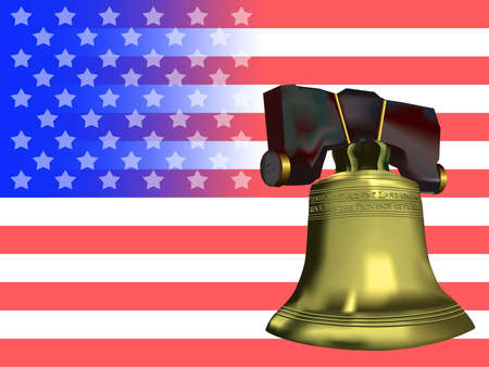 American flag adorned with a golden Liberty bell. Stock Photo