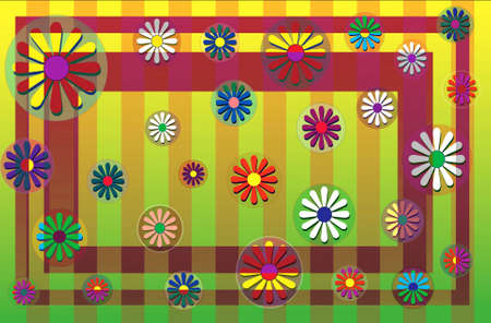 Flowers scattered on a striped back round with double border.