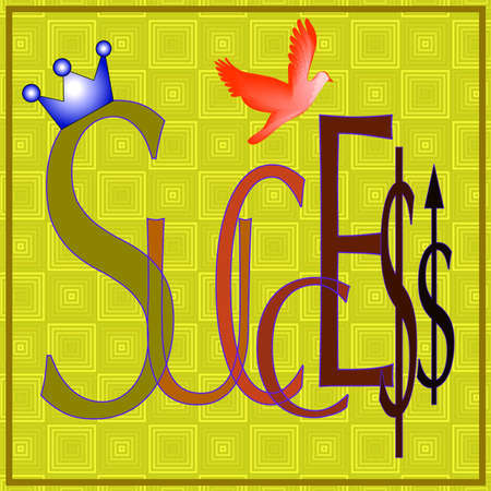 Success enhanced with crown, dollar sign and upward arrow Stock Photo