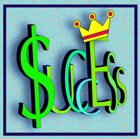 Success enhanced with crown and dollar sign