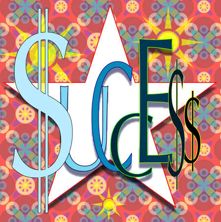 Success enhanced with dollar signs layered above a white star Stock Photo