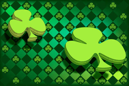 st  patty's: Argyle pattern with clovers in St. Pattys favorite shades of green.  Two Large shamrocks floating above the pattern. Stock Photo