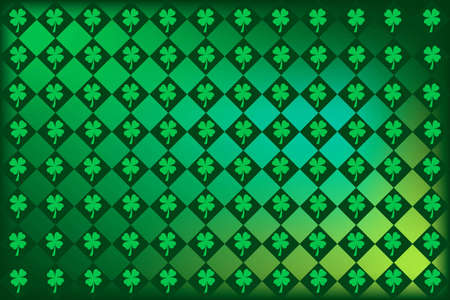 st  patty's: Argyle pattern with clovers in St. Pattys favorite shades of green. Stock Photo