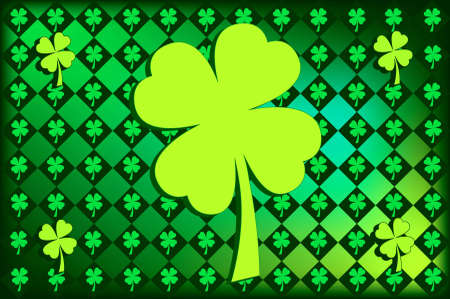 st  patty's: Argyle pattern with shamrocks in St. Pattys favorite shades of green.  Large shamrock in the center. Stock Photo