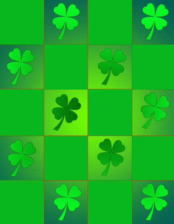 st  patty's: Checker pattern with shamrocks in St. Pattys favorite shades of green. Stock Photo