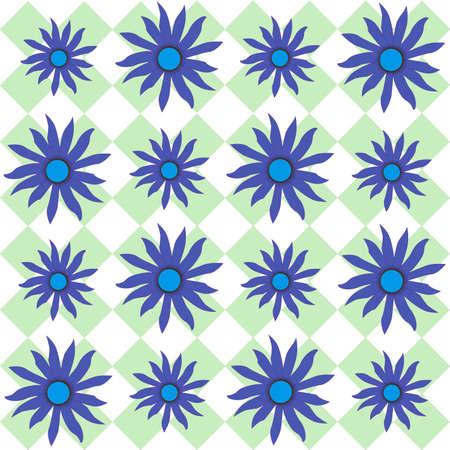 breen: Blue Eyed Susan fiori su un plaid a scacchi Breen indietro rotonda Archivio Fotografico