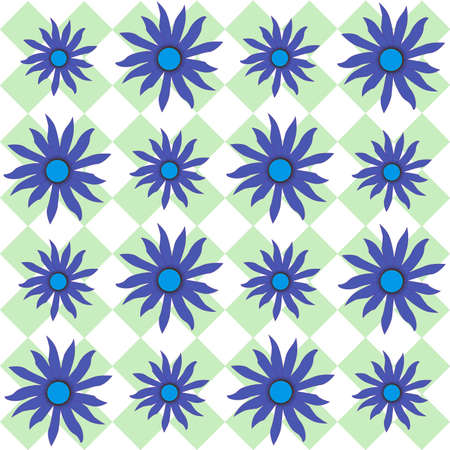breen: Blue eyed Susan flowers on a breen checkered plaid  back round
