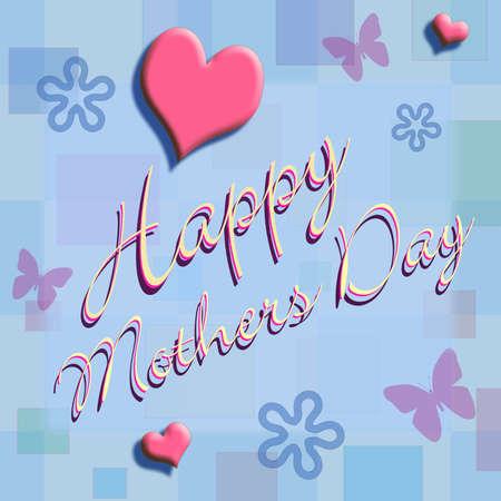 Feliz Día de la Madre escrito en el guión, una luz en la pared de papel azul pastel con flores, mariposas y corazones.  Foto de archivo - 2808974