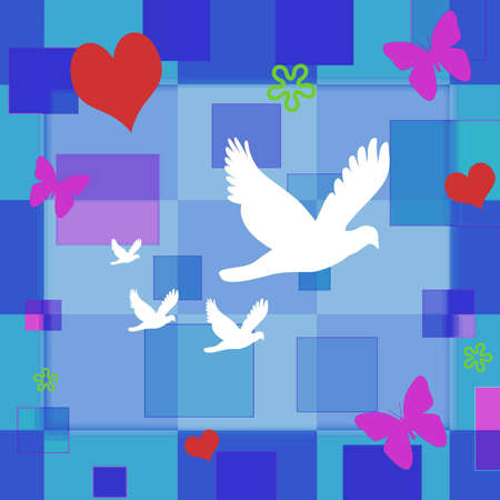 hued: A decorative wall paper with hearts, butterflies and flowers floating on a blue hued collection of squares.