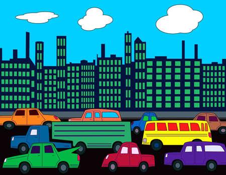 忙しい街車やトラフィックを。