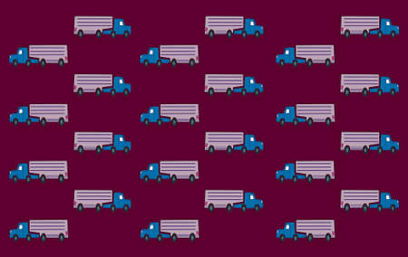 delivery room: Trucks arranged in vertical and horizontal rows. Stock Photo