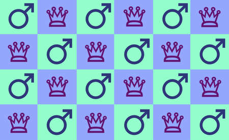 Checker pattern in light blue & green with kings crown and male symbol for the masculine persuasion.  Stock Photo