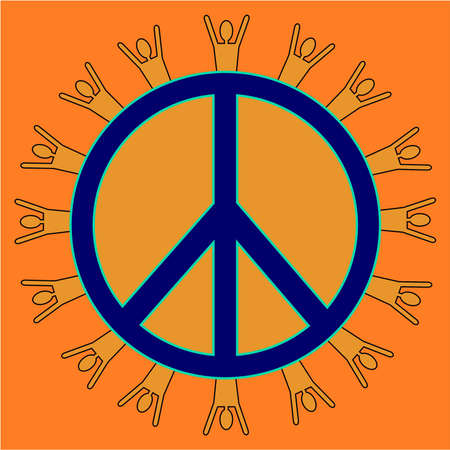 Peace symbol with people silhouette around the outer edge    photo