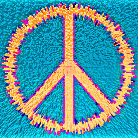 Peace symbol made from thousands of rectangular modules