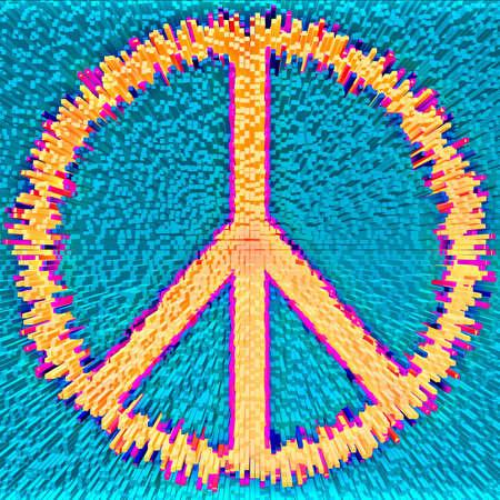 armistice: Peace symbol made from thousands of rectangular modules