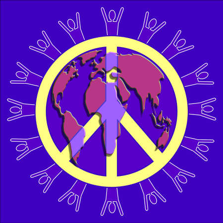 pacification: Peace symbol with people silhouette around the outer edge layered with a map of the world  Stock Photo