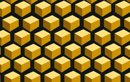 honey comb: Golden  cubes distributed in a honey comb type pattern Stock Photo
