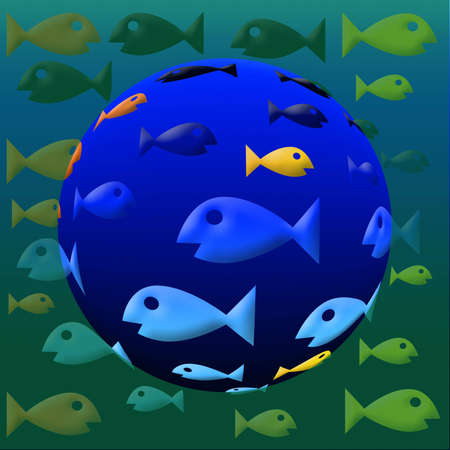 back and forth: Assorted colored fish swimming back and forth in a fish eye Stock Photo