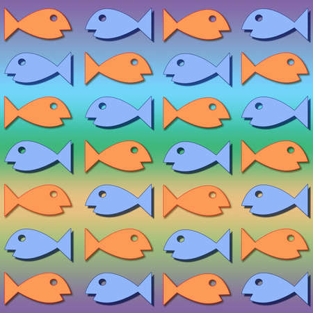 Assorted colored fish swimming back and forth photo