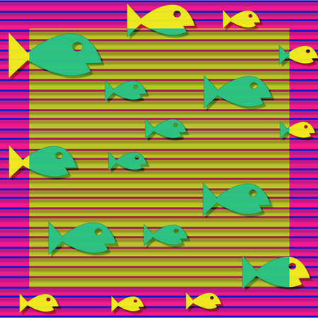 back and forth: Yellow and green colored fish swimming back and forth Stock Photo