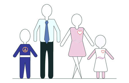 featureless: An every man approach to the family. Generic figures featureless. Stock Photo