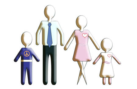 featureless: An every man approach to the family. Generic figures featureless and 3-D.