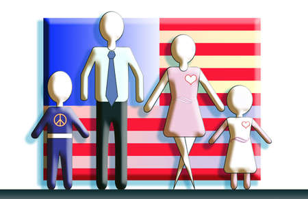 Generic figures of the family standing in front of an American flag.