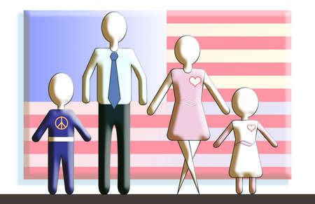 Generic figures of the family standing in front of an American flag. photo