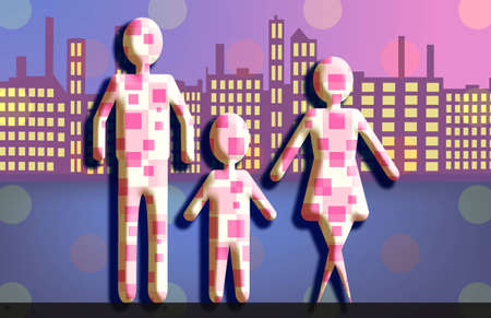 Generic figures of a Family standing in front of panoramic  skyline.