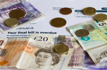 utility payments: Final Demand Utility Bill and UK Sterling Currency
