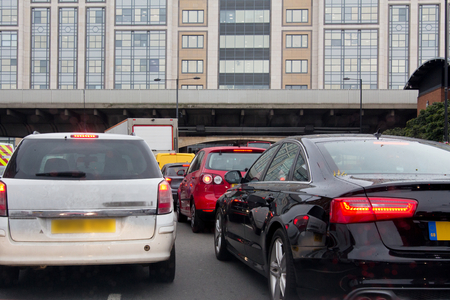 standstill: Heavy traffic on a London road Stock Photo