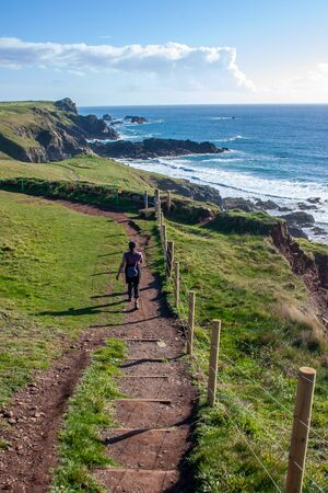 A landscape view of Mawgan Porth from the South West Coast Path, North Cornwall along the Atlantic coast near Newquay Stock Photo